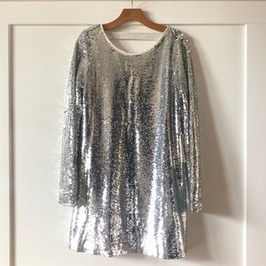 NWT silver Sequin mini dress long sleeve size L